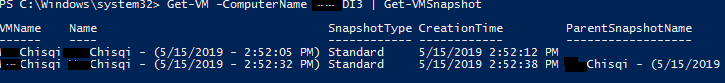 See the checkpoint via powershell